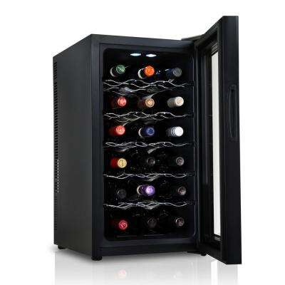 18 Bottle Thermoelectric Freestanding Wine Cooler Fridge Cellar Refrigerator with Door Lock - Black