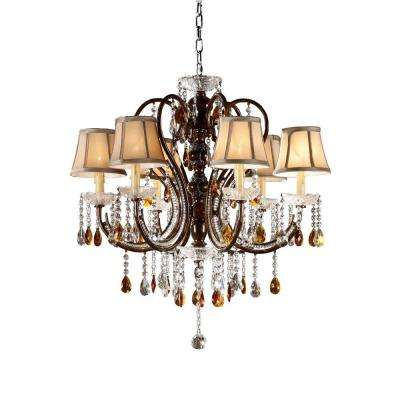 6-Light Bronze Tea Shade Crystal Chandelier