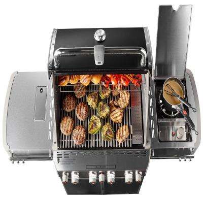 Summit E-470 4-Burner Propane Gas Grill in Black with Built-In Thermometer and Rotisserie