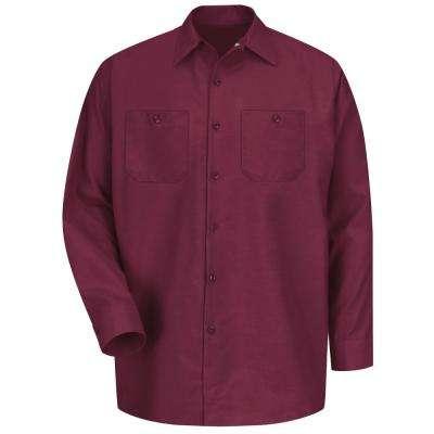 Men's Burgundy Long-Sleeve Work Shirt