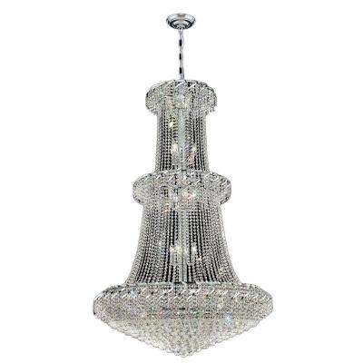 Empire Collection 32-Light Chrome and Clear Crystal Chandelier