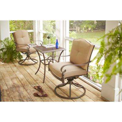 Eastham 3-Piece Patio Bistro Set with Tan Cushions