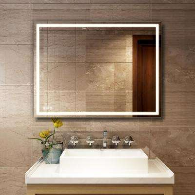 Marabell 28 x 36 LED Bathroom Wall Mirror with Anti-Fog Function and Dimmable Memory Touch Button /… Vertical//Horizontal