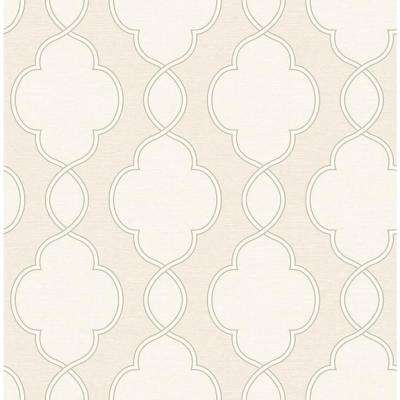 8 in. W x 10 in. H Structure Cream Chain Link Wallpaper Sample