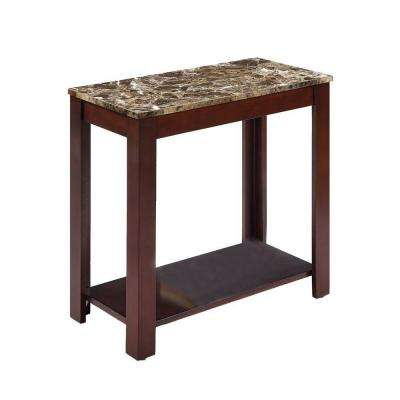 24 in. Traditional Dark Cherry Side/End Table with Marble Print Style