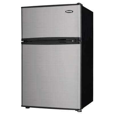 3.2 cu. ft. 2-Door Mini Refrigerator in Stainless Steel Look