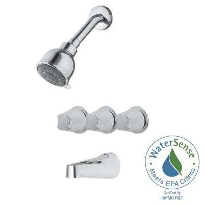 3-Handle Tub and Shower Faucet Trim Kit in Polished Chrome (Valve Not Included