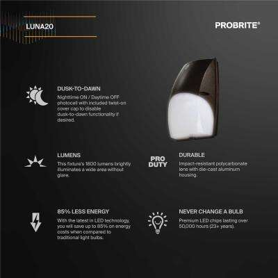 Slim-Profile 20-Watt Integrated LED Wall Pack Light with 1800 Lumens, Dusk to Dawn Outdoor Light (2-Pack)