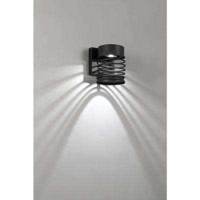 Masena 1-Light Sand Black Outdoor Integrated LED Wall Lantern Sconce Small