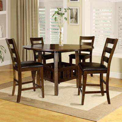 Emmalee 5-Piece Lazy Suzan Wood Counter Height Dining Set in Dark Oak