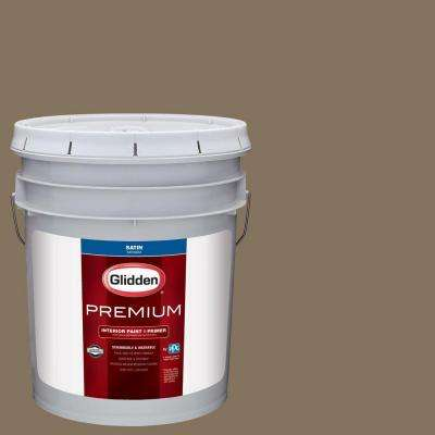 5 gal. #HDGWN34D Le Chateau Brown Satin Interior Paint with Primer