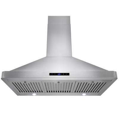 36 in. Convertible Kitchen Wall Mount Range Hood in Stainless Steel with LEDs and Touch Control