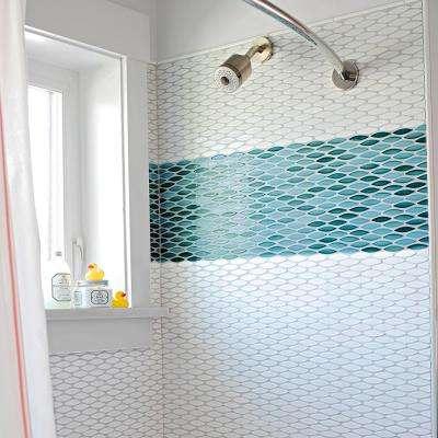 Pescado Glossy Agua 12 in. x 12-1/2 in. x 6 mm Ceramic Mosaic Tile