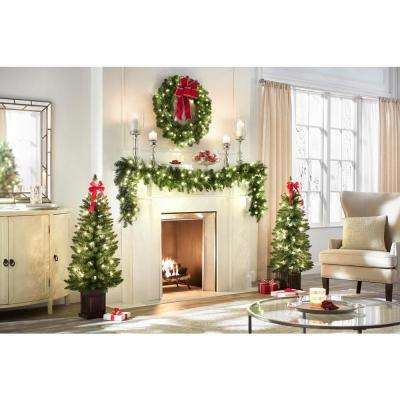4 ft. Pre-Lit Douglas Artificial Christmas Porch Tree with 50-Clear Lights