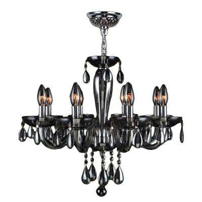 gatsby collection 8light chrome and smoke handblown glass chandelier - Blown Glass Chandelier