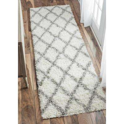 Shanna Shag White 3 ft. x 8 ft. Runner Rug