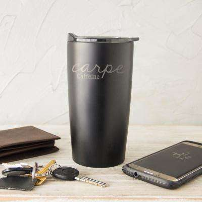Carpe Caffeine 20 oz. Black Stainless Steel Double-Walled Tumbler