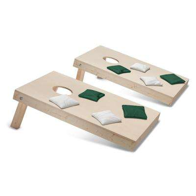 Take-And-Play Cornhole Toss Game Set with Hunter Green and White Bags