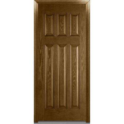 36 in. x 80 in. Severe Weather Right-Hand Outswing Craftsman 6-Panel Classic Stained Fiberglass Oak Prehung Front Door