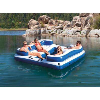 Oasis Island 5-Person Inflatable Floating Lounge Pool Raft and 48 in. Oars (2 Sets)