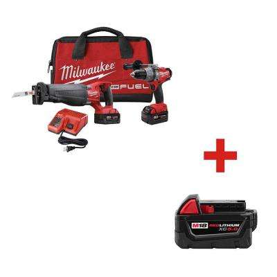 M18 FUEL 18-Volt Lithium-Ion Brushless Cordless Hammer Drill/SAWZALL Combo Kit with Free M18 18-Volt XC 5.0Ah Battery