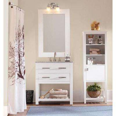 Fraser 31 in. W x 21.5 in. D Bath Vanity in White with Solid Granite Vanity Top in Gray with White Sink