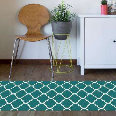 Washable Moroccan Trellis Teal 2.5 ft. x 7 ft. Stain Resistant Runner Rug