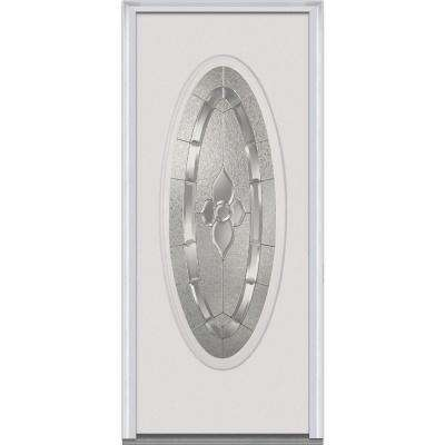 31.5 in. x 81.75 in. Master Nouveau Decorative Glass Oval Lite Primed White Fiberglass Smooth Exterior Door