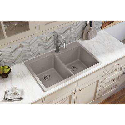 Quartz Classic Drop-In Composite 33 in. Square Offset Double Bowl Kitchen Sink in Greige