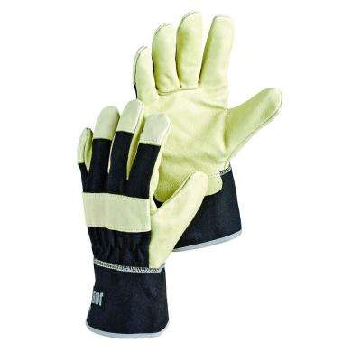 Krypton Pigskin Leather Reinforced Fingers Knuckle Protection Glove in White and Black