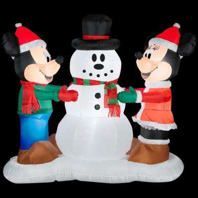 6 ft. W x 3 ft. D x 5 ft. Mickey and Minnie Decorating Snowman Scene