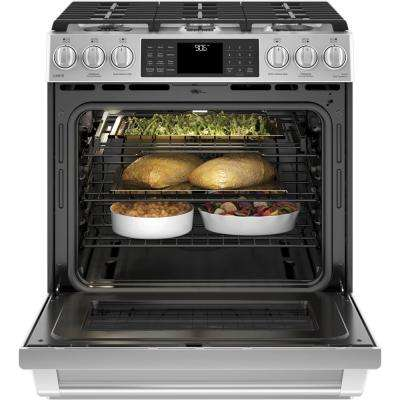 Cafe 5.6 cu. ft. Smart Slide-In Gas Range with Self-Cleaning Convection Oven and WiFi in Stainless Steel