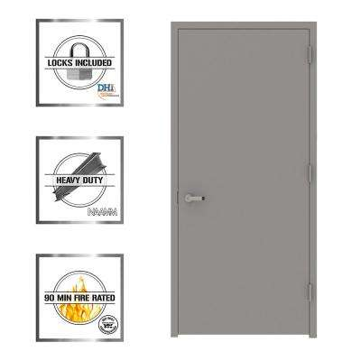 Gray Flush Fire Proof Steel Prehung Commercial Entrance Door with Welded Frame