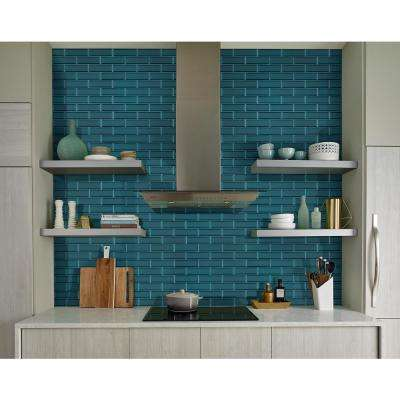 Verde Azul Beveled 2.5 in. x 9 in. x 8mm Glossy Glass Wall Tile (5.6 sq. ft. / case)