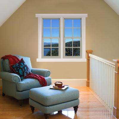 24 in. x 48 in. V-4500 Series Desert Sand Single-Hung Vinyl Window with 4-Lite Colonial Grids/Grilles