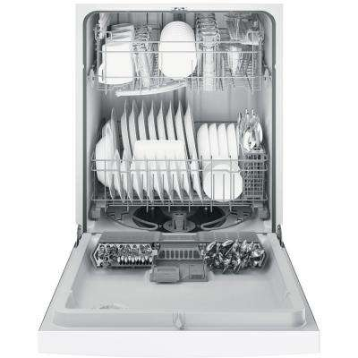 Front Control Tall Tub Dishwasher in White with Steam Prewash