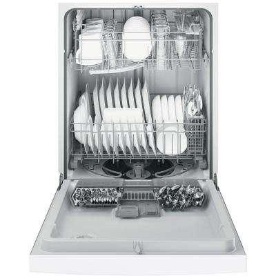 Front Control Dishwasher in White with Steam Prewash