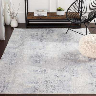 Sabri Silver/Blue 2 ft. 7 in. x 7 ft. 6 in. Distressed Runner Rug