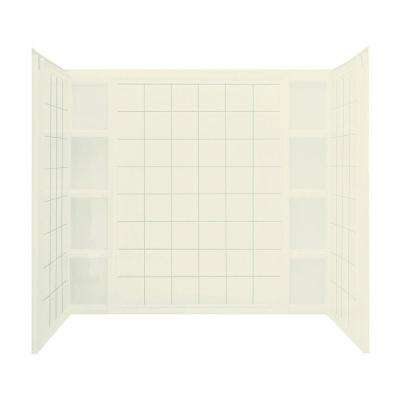 Ensemble 60 in. x 43-1/2 in. x 54-1/4 in. 3-piece Direct-to-Stud Tub Wall Set with Backer in Biscuit