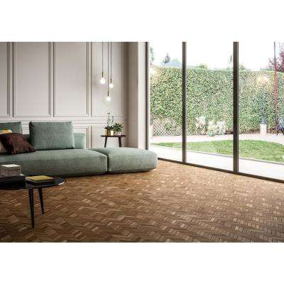 Havenwood Saddle Chevron 12 in. x 15 in. x 9mm Glazed Porcelain Mesh-Mounted Mosaic Tile (10 sq. ft. / case)