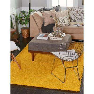 Solid Shag Tuscan Sun Yellow 6 ft. Round Area Rug