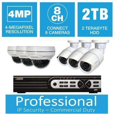 8-Channel 4MP IP Indoor/Outdoor Surveillance 2TB NVR System with (3) 4MP Bullet Cameras and (3) 4MP Dome Cameras
