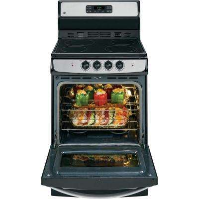 24 in. 3.0 cu. ft. Electric Range with Self-Cleaning Oven in Stainless Steel