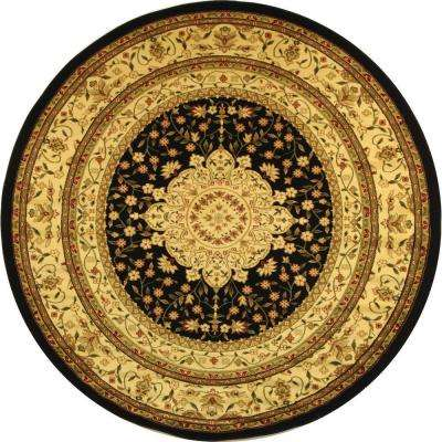 Lyndhurst Black/Ivory 5 ft. 3 in. x 5 ft. 3 in. Round Area Rug