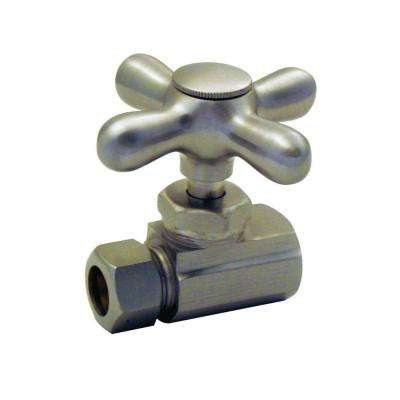 1/2 in. IPS Inlet Straight Stop with Cross Handle in Satin Nickel-DISCONTINUED