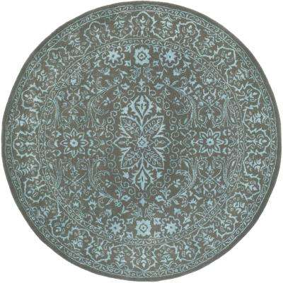 Glamour Blue/Dark Gray 6 ft. x 6 ft. Round Area Rug