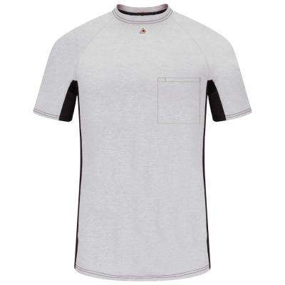 EXCEL FR Men's Grey Short Sleeve Flame Resistant Two-T1 Base Layer with Concealed Chest Pocke