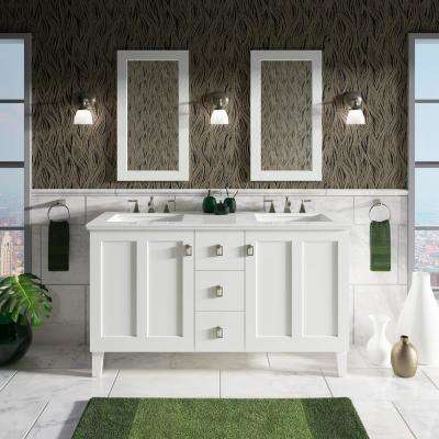 Poplin 60 in. W Vanity in Linen White with Marble Vanity Top in Carrara with White Basins