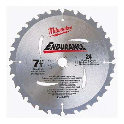 7-1/4 in x 24 Carbide Tooth Circular Saw Blade