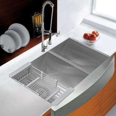 Handcrafted All-in-One Apron-Front Stainless Steel 33 in. x 22 in. x 9 in. Double Bowl Kitchen Sink with Tray and Drain